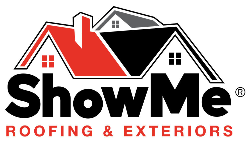 ShowMe Roofing and Exteriors transparent logo with black text.