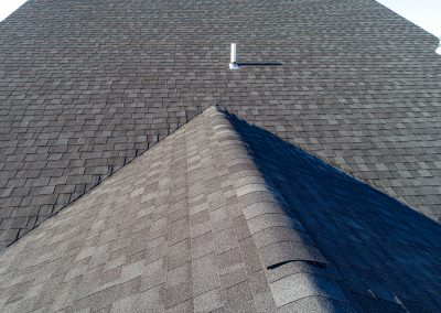A front facing shot of a shingle roof.