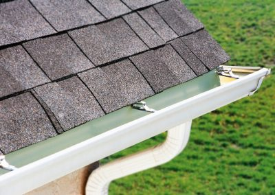 Closeup of new gutter installation on a St. Louis home.