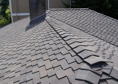 Composite roof shingles on a roof.
