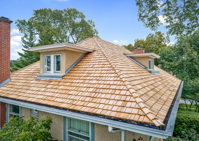 A cedar shake roof in the st. louis area.