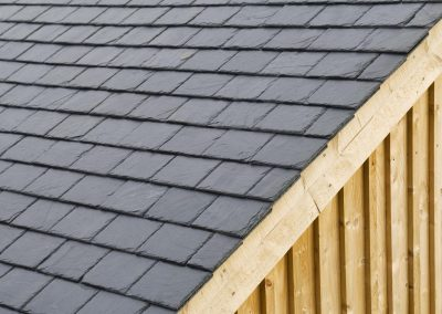 The slope of a slate roof.