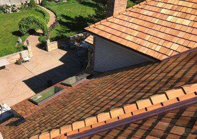 A newly installed cedar shake roof.