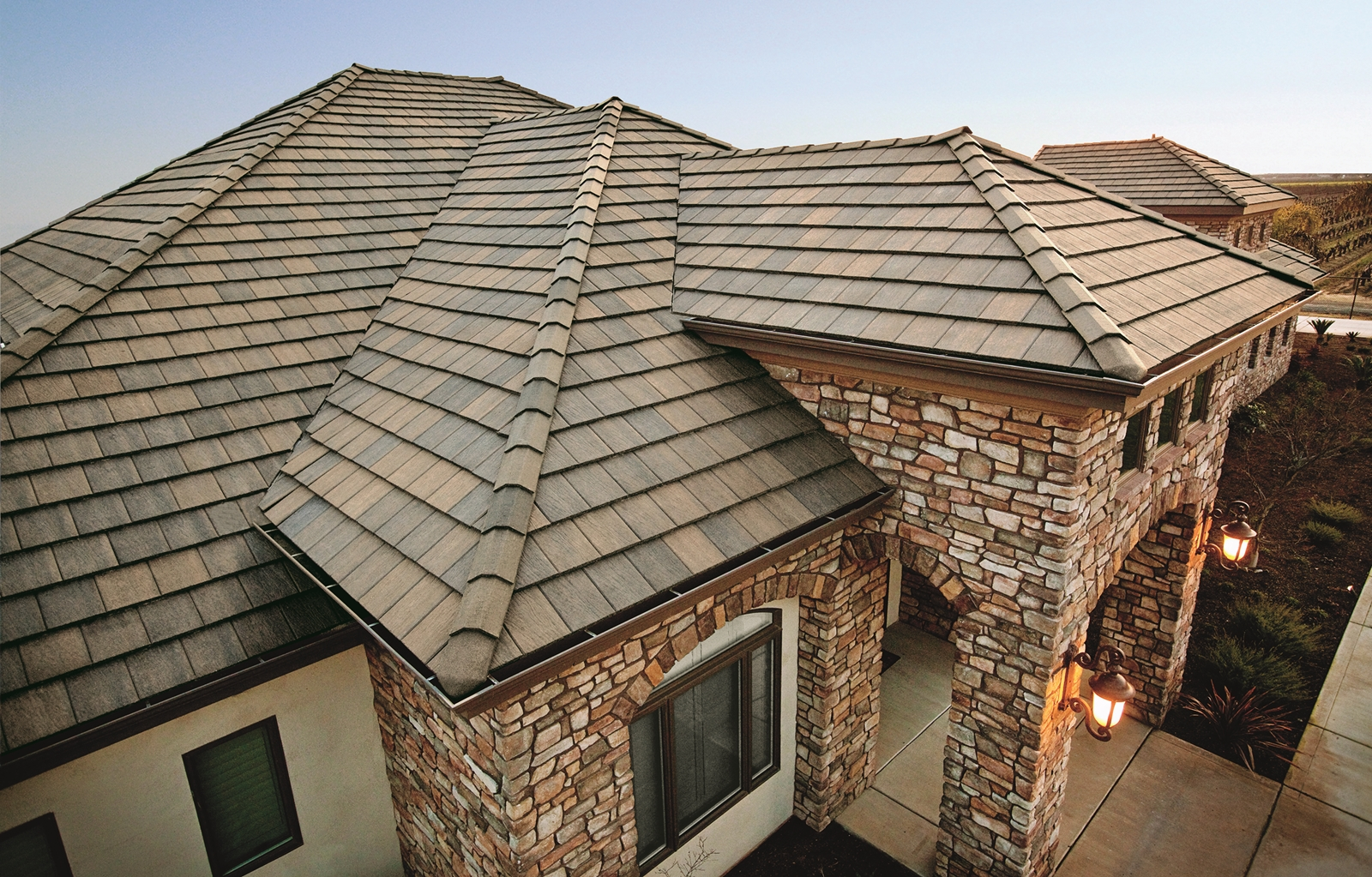 A new tile roof on a home.