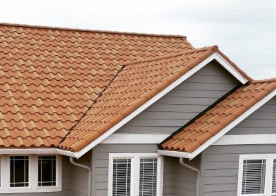 A tile roof that was just installed on a home.